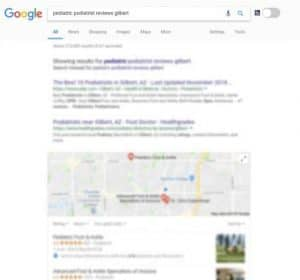 Google search result page for podiatrist reviews, Pediatric Foot & Ankle, Gilbert AZ